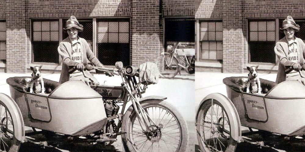 woman riding sidecar